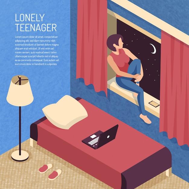 Skład Izometryczny Nastolatek Z Widokiem Na Wnętrze Sypialni Domowej I Nastolatka Siedzi Na Parapecie Darmowych Wektorów