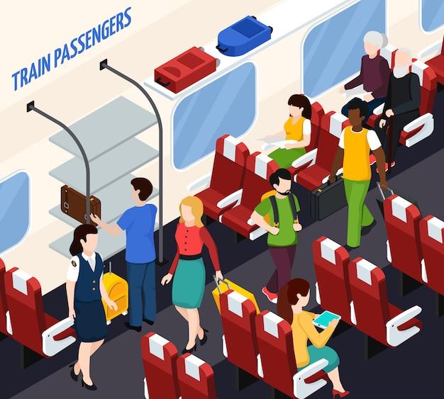 Skład Izometryczny Pasażerów Pociągu Darmowych Wektorów