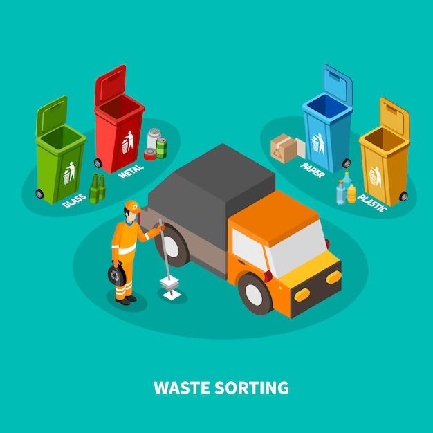 Skład Izometryczny Sortowania Odpadów Darmowych Wektorów