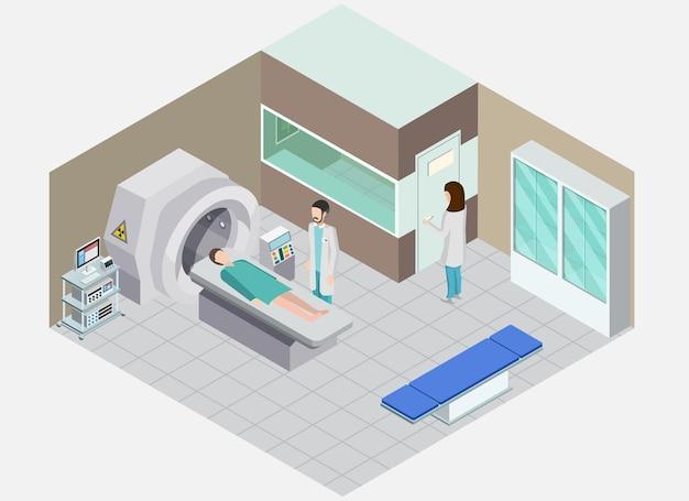 Skład Izometryczny Sprzętu Medycznego Z Widokiem Na Salę Szpitalną Z Ludźmi I Aparatem Do Zabiegów Medycyny Nuklearnej Darmowych Wektorów