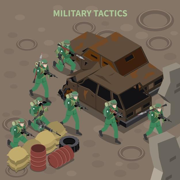 Skład Izometryczny Taktyki Wojskowej Z Grupą Uzbrojonej Piechoty Atakującej Karabinami Maszynowymi Darmowych Wektorów