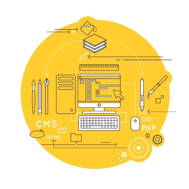 Skład Linii Web Design Darmowych Wektorów