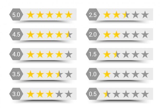 Skład Pięciu Gwiazdek Premium Wektorów