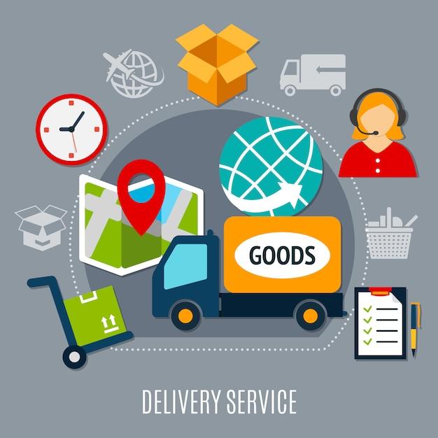Skład płaski usługi dostawy Darmowych Wektorów