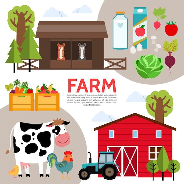 Skład Płaskich Elementów Rolniczych Darmowych Wektorów