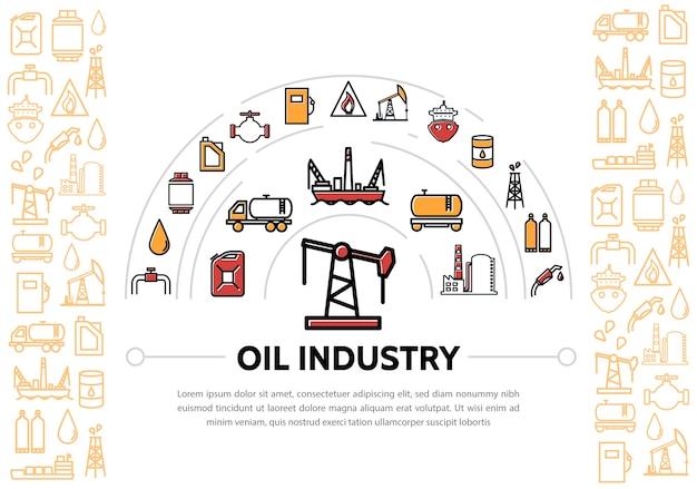 Skład Przemysłu Naftowego Z Ikonami Darmowych Wektorów