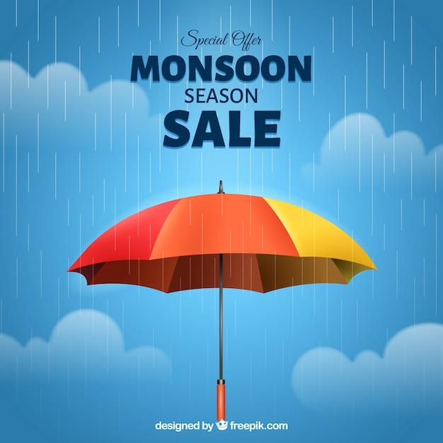 Skład sprzedaży monsunów z realistycznym parasolem Darmowych Wektorów