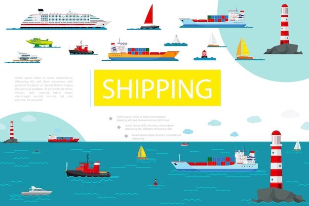 Skład Transportu Morskiego Płaskiego Darmowych Wektorów