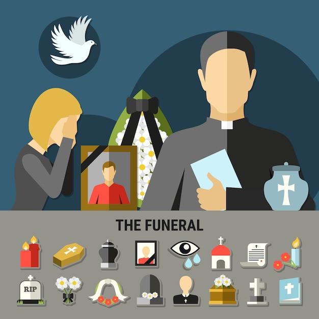 Skład żałobny i żałobny Darmowych Wektorów
