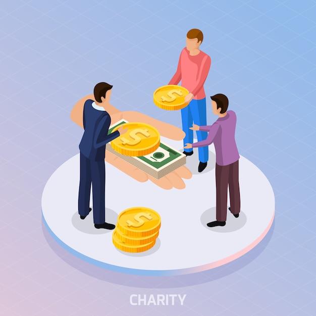 Skład Znaków Zbierających Fundusze I Ludzką Rękę Z Monetami I Banknotami Darmowych Wektorów