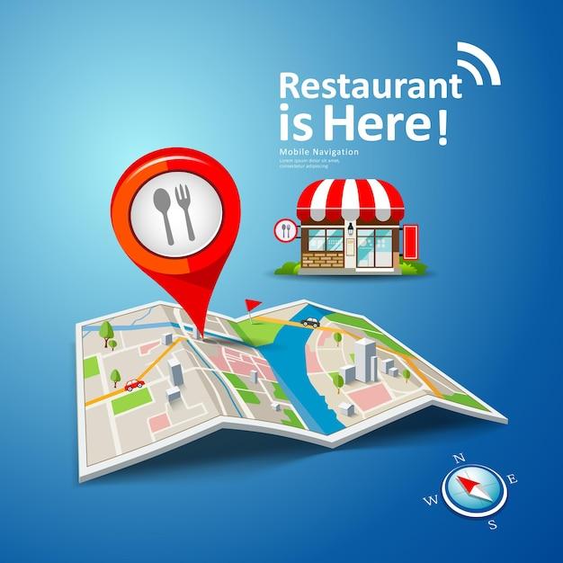 Składane Mapy Z Czerwonymi Znacznikami Punktów, Restauracja Jest Tutaj Projektowym Tłem, Ilustracją Premium Wektorów