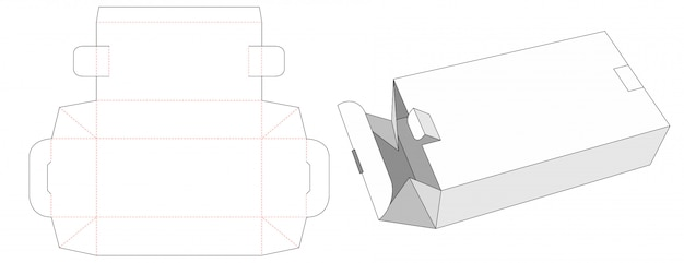 Składane Pudełko Z 2 Zamkami Wycinanymi Szablonami Premium Wektorów