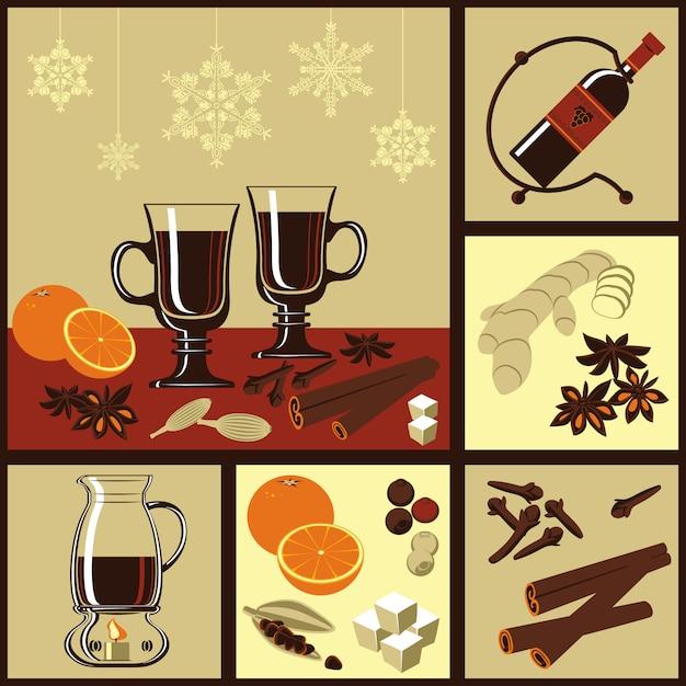 Składniki Na Grzane Wino. Premium Wektorów