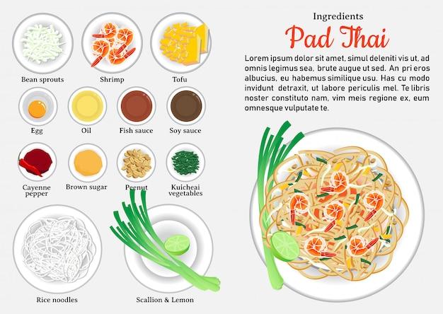 Składniki pad thai. jedna z najpopularniejszych potraw w tajlandii. Premium Wektorów