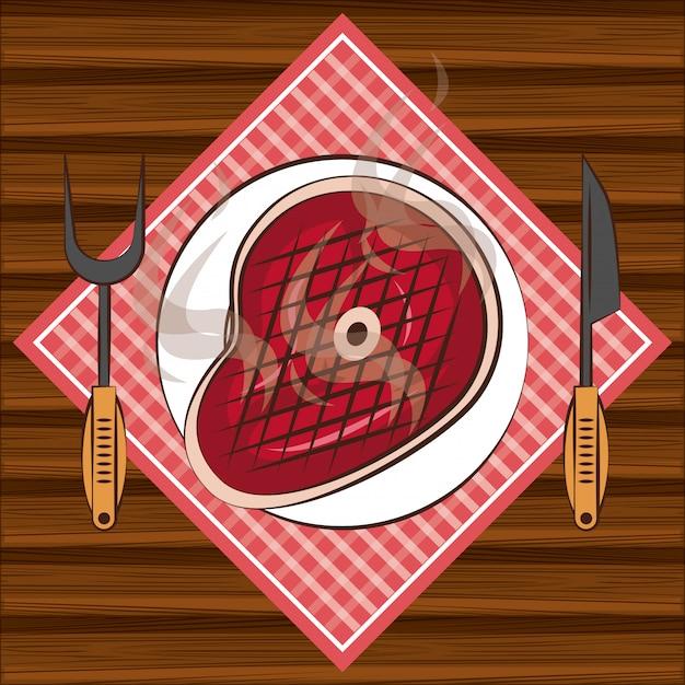 Składniki Steakhouse Bbq Na Stole Premium Wektorów