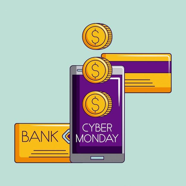 Sklep cyber poniedziałek Premium Wektorów