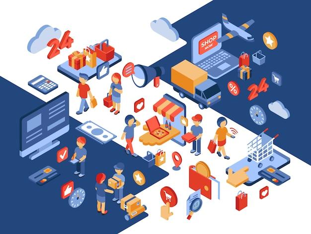 Sklep Internetowy Izometryczny Ilustracja Z Zadowolonych Klientów Premium Wektorów