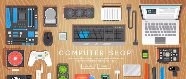 Sklep Komputerowy. Różne Części Komputerowe Są Na Stole. Premium Wektorów