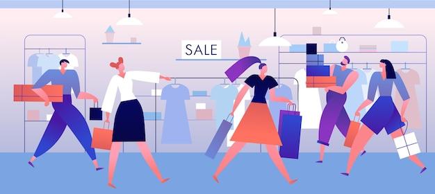 Sklep Odzieżowy. Zakupy Ludzi Z Pudełkami I Torbami W Butiku, Butiku. Modne Ubrania Xmas Duża Sprzedaż Koncepcja Wektor Premium Wektorów