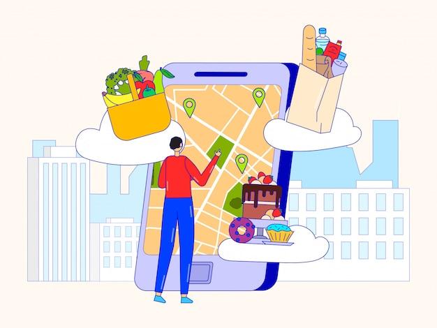 Sklep Spożywczy Online, Ilustracja Usługi Dostawy. Mężczyzna Klient Wybiera Adres Na Mapie Gps Smartfonów Do Szybkiego Zamawiania. Premium Wektorów