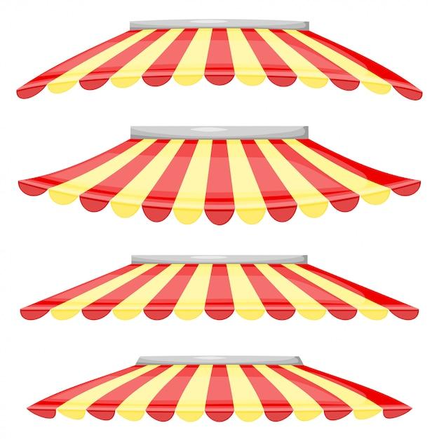 Sklep z czerwonymi i żółtymi pasami Premium Wektorów