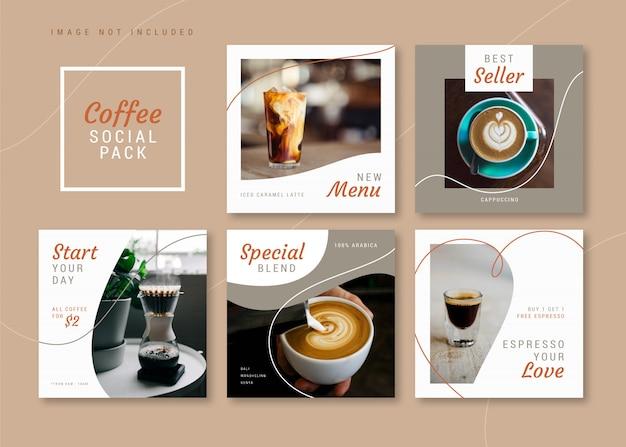 Sklep Z Kawą Czysty I Prosty Kwadratowy Szablon Mediów Społecznościowych Na Instagram, Facebook, Karuzele. Premium Wektorów
