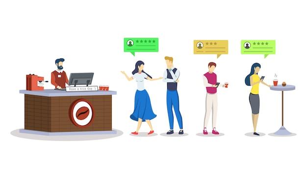 Sklep Z Kawą Ocena Semi Rgb Koloru Ilustracja. Opinie Klientów, Konsumentów. Premium Wektorów