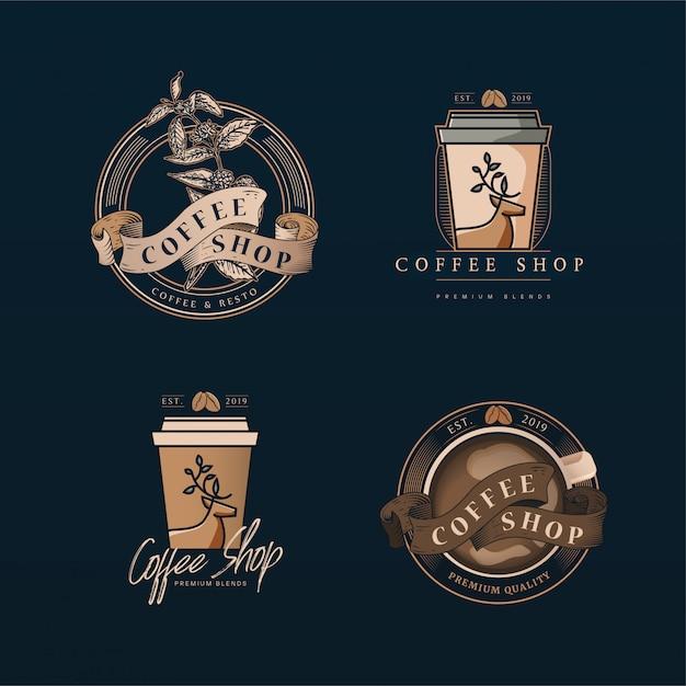 Sklep z kawą z logo Premium Wektorów