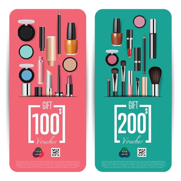 Sklep z kosmetykami uroczyste otwarcie kupon podarunkowy Premium Wektorów