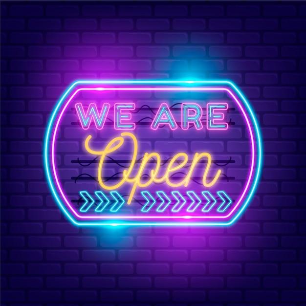 Sklep Z Nami Jest Otwarty W Neony Darmowych Wektorów