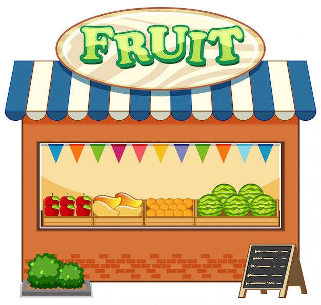 Sklep Z Owocami Z Logo Stylu Cartoon Owoców Na Białym Tle Darmowych Wektorów
