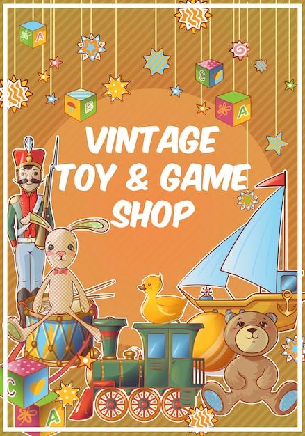 Sklep Z Zabawkami Kolorowy Plakat Z Tytułem Sklepu Z Zabytkowymi Zabawkami I Grami Darmowych Wektorów