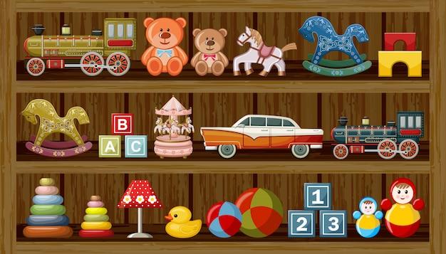 Sklep Z Zabytkowymi Zabawkami. Premium Wektorów