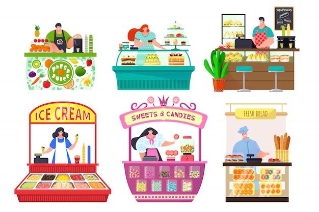 Sklepy Z Licznikami żywności Zestaw Na Białym Tle Ilustracji, Stoisko Sprzedawcy I Stragany Z Jedzeniem Na Rynku, Wózki Z Cukierkami, Chleb. Premium Wektorów