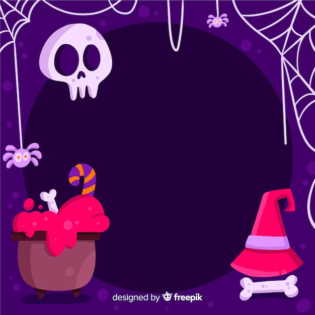 Skopiuj miejsce halloween ramki z czarów Darmowych Wektorów