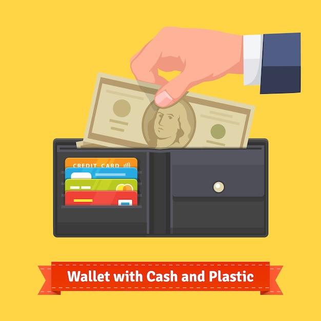Skórzany portfel z kilkoma dolarami i kartami kredytowymi Darmowych Wektorów