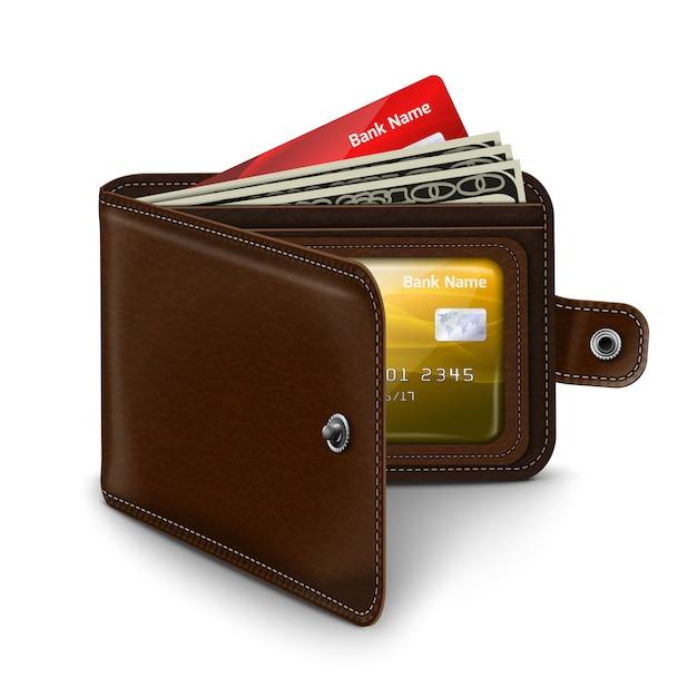 Skórzany Portfel Z Rachunkami Na Pieniądze Z Karty Kredytowej Premium Wektorów