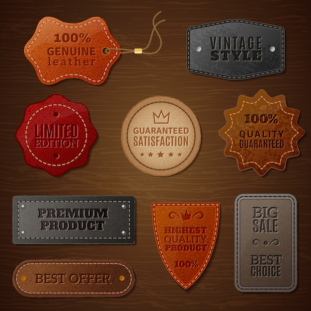 Skórzany zestaw etykiet Darmowych Wektorów