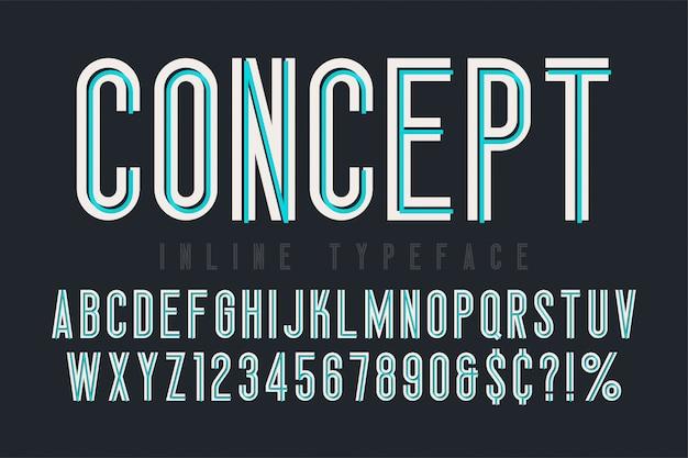 Skrócone Czcionki Wbudowane, Krój Pisma, Alfabet. Oryginalny Skład Premium Wektorów