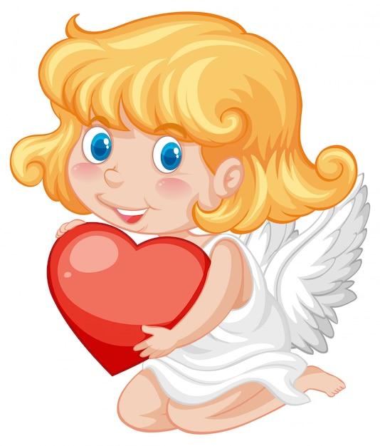 Skrzydlaty Amorek I Czerwone Serce Darmowych Wektorów