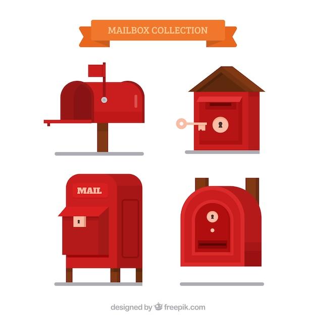Skrzynek pocztowych zestaw innym kształcie, płaska Darmowych Wektorów