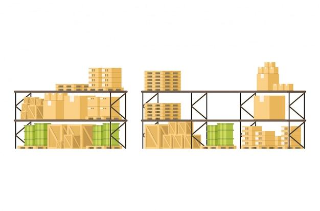 Skrzynia ładunków Towarowych I Towarów Na Półce W Magazynie Premium Wektorów