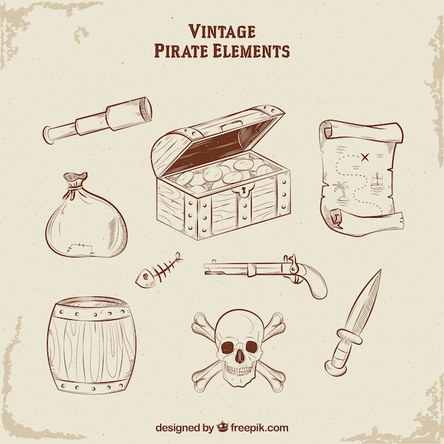 Skrzynia Skarbów Ręcznie Rysowane Elementy Pirata Darmowych Wektorów