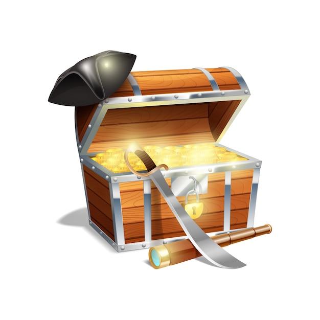 Skrzynia ze skarbem piratów drewnianych ze złotym kordelasem szpiegowskim i czapką z czarnego trójkąta Darmowych Wektorów