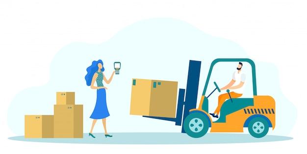 Skrzynie na wysyłkę dostawy, pojazd ciężarowy z ładowarką. Premium Wektorów