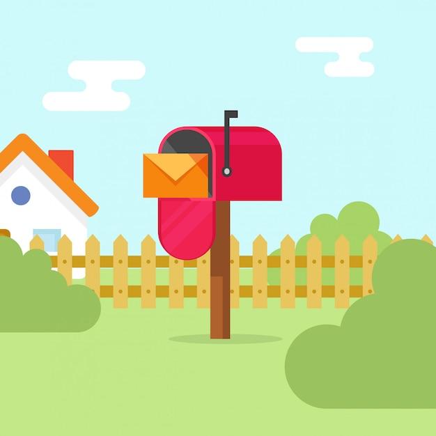 Skrzynka pocztowa z kopertą listową i ilustracji wektorowych krajobrazu domu Premium Wektorów