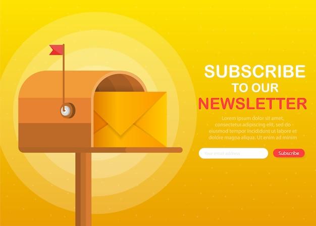 Skrzynka Pocztowa Z Listem W środku W Stylu Płaski Na żółtym Tle. Zapisz Się Do Naszego Newslettera. Premium Wektorów