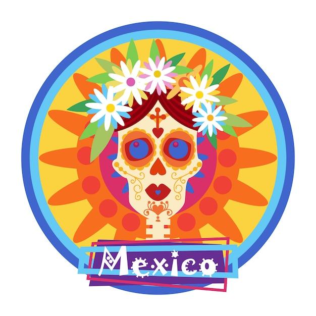 Skull day of dead concept tradycyjne meksykańskie halloween dia de los muertos zaproszenie na święto dekoracji świątecznej imprezy Premium Wektorów