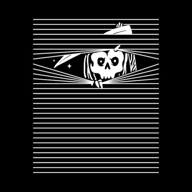 Skull Grim Reaper, Projekt Koszulki Premium Wektorów