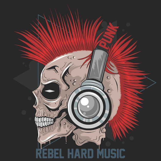 Skull music punk headphone mohawk hair vector artwork Premium Wektorów